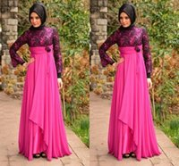 Wholesale Navy Silk Robes - Muslims Aso Ebi Style Evening Gowns High Neck Long Sleeve A Line Nigerian Women Evening Dress Flowers Pleats Lace Chiffon Robe De Soiree