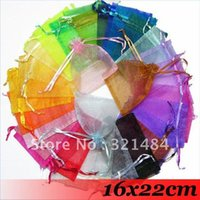 Wholesale Organza Bags 16x22cm - Free ship! 16x22cm 3000piece Mix Color Wedding Christmas Gift Packing Organza Bags Organza Pouches