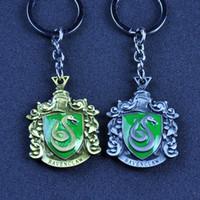 Wholesale movies types - 8 Type Harry Hogwarts School Gryffindor Slytherin Hufflepuff Ravenclaw Enamel Badge Keychain Key Rings Potter Jewelry BLISTER RETAIL PACKING