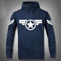 Wholesale Usa Sports Clothing - Wholesale-High Quality NEW Marvel Captain America 2 Costume Super Hero Hoody sport Hoodies Men USA cosplay clothing Sweatshirt 3XL