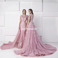 Wholesale Crystal Blue Candy - Real2016 Zuhair Murad Candy Pink Mermaid Evening Dresses Bateau Neck Cap Sleeve With Dateachable Formal Occasion Prom Party Gown Custom Made