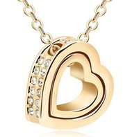Wholesale double heart necklace diamond - High quality Austrian crystal Diamonds Double Heart Pendant Statement Necklace Fashion Class Women Heart Lovers Swarovski Elements Jewelry