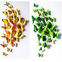 cartel de la nave al por mayor-12 Unids / lote 3D Imán de PVC Mariposa DIY Pegatinas de Pared Tatuajes de Decoración Del Hogar Poster para Habitaciones de Los Niños Adhesivo a la Decoración de La Pared Envío Gratis