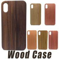 Wholesale Iphone Original Case - For iPhone X 8 6 7 Plus Real Wood Luxury Case Original Wood Case Cover Shockproof TPU+Wood Phone Shell