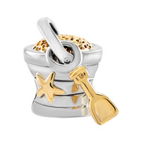 Wholesale White Metal Buckets - Fashion women jewelry European starfish beach Bucket And Shovel metal spacer bead lucky charms fits Pandora charm bracelet