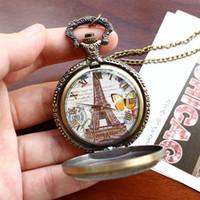 Wholesale Eiffel Tower Pocket Watch Necklace - Cindiry Retro Paris Eiffel Tower Butterfly Quartz Pocket Watch Women Men Watches Pendant Necklace Sweather Chain Watches
