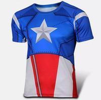 Wholesale Hulk T Shirts - 2017 Super Heroes shirts Iron Man Spiderman Green Lantern The Hulk Captain America Loki Thor Black Widow Hawkeye Avengers T Shirt Short Tee