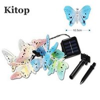 Wholesale led butterfly string lights - Wholesale- Kitop Butterfly Fiber 4M 12Led Solar led String light outdoor Waterproof garden Decorative Christmas Fairy lighting