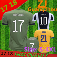Wholesale Fans Jackets - DYBALA Soccer Jacket 17 18 HIGUAIN MANDZUKIC CUADRADO KHEDIRA Home Away 3rd Short Sleeve Fan Edition Football Shirt Size S-4XL