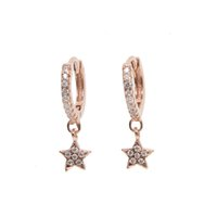 Wholesale Real Gold Jewelry Earing - Elegance star Gold Color dangle Earings Jewelry cubic zircon paved real 925 sterling silver women wedding cute stars earing 2017