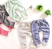 Wholesale Harem Pants For Children - Kids New Spring Harem Long Trousers Pure Cotton Looped Pile with Pockets Elastic Waist Long Pant Design For Boy and Girl Children Clothing