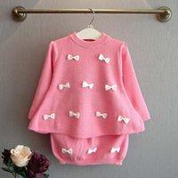 Wholesale Crochet Kids Skirt Pink - Korean Girl Dress Child Clothes Kids Clothing 2015 Autumn Princess Pullover Sweaters Kid Crochet Skirt Children Set Kids Suit Outfits