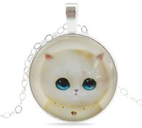 Wholesale Cat Face Necklace - Jewelry Sweet Cat Glass Fashion Cabochon Pendants Necklaces Handmade Silver Plated Chain Necklaces