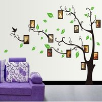 Wholesale Photo Frames For Walls - Large Size 120*170cm Black Photo Frame Wall Stickers For Lving Room Wall Decor & Photo Wallpapers With Black Tree Sticker