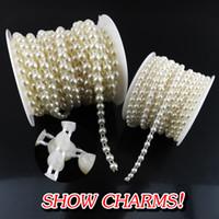 nähen perlen kleid großhandel-Großhandel- (4mm + 6mm) Perle Strassapplikationen 4 Farben Nähen Strassapplikationen Halbrunde Flache Rückseite Nähen Auf Perlen Für Brautkleider