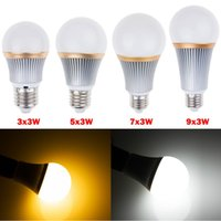 Dimmable 9 W 15 W 21 W 27 W Led Ampoules Lampe E27 E26 Cree Led Lampe Globe Chaud / Natrual / Froid Blanc AC110-240V