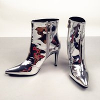 2018 Pointed Toe Silver Women Mid-calf Boots Short Booties Moda Luxo Marca Star Runway Dress Zippered Shoes Sexy High Thin Heel