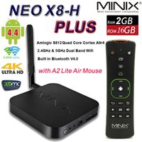 Wholesale Smart Tv Box Minix Neo - MINIX NEO X8-H Plus Amlogic S812-H Quad Core 4K Android 4.4 TV Box Smart TV 2G 16G WIFI 1000M LAN Blutooth kitkat XBMC with A2 Lite Mouse