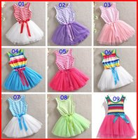 Wholesale Striped Baby Bow Dress - 5Pc lot INS Summer New Baby Girls Lace Tutu Bow Dresses Girls Red Lace Striped Printed For Kids Girls Flower Party Dresses For Summer 2-6T