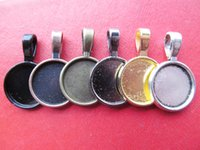 Wholesale Cabochon Bail Settings - 50pcs Round Frame Base Bezel Setting Tray Pendant Charm Finding,fit 14mm Cabochon Picture Cameo,Big Bail Hook,6 Colors