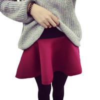siyah ayaksız tozluklar toptan satış-Sahte Iki Adet Tayt Etekler Kış Moda Kadın Tayt Etek Pantolon Kalınlaşma Siyah Kırmızı Ayaksız Leggins Ile