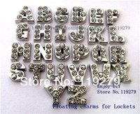 Wholesale Full Float - Free shipping 130pcs full rhinestones floating charms letters fit for lockets