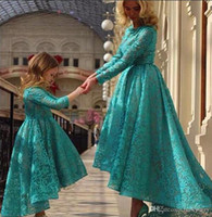 Wholesale Mother Asymmetrical Dress - 2015 Little Girls Pageant Dresses Sweet Lace Appliqued Hi-lo Crew Neckline Occasion Gowns Mother Daughter Matching Dresses