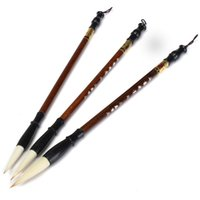 Wholesale Wholesale Chinese Writing Calligraphy - 3PCS SET Calligraphy Brushes Pen for Woolen & Weasel Hair Writing Brush and Chinese Painting Brush With Case