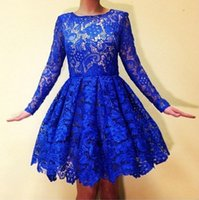 Wholesale Long Sleeved Homecoming Dresses - Long-sleeved Blue Lace Homecoming Dresses Knee Length Ruched Top Quality Dresses Party Evening Simple Classic Short Prom Party Dresses