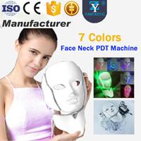 liderliğindeki yüz hafif terapi makinesi maskesi toptan satış-7 Renk PDT LED Maske Cilt Beyazlatma Cilt Gençleştirme Foton LED Işık Terapi Yüz Boyun Ev Kullanımı Cilt Bakımı Yüz Makinesi