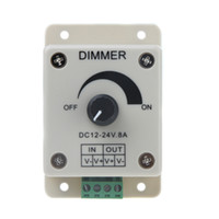 Wholesale 12v 8a Led Dimmer - LED dimmer DC 12V 8A Light Dimmer Bright Brightness Adjustable Controller for 5050 3528 5630 SMD Single Color LED controller