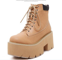 Wholesale Designer Shoes Boots Ladies - Hot sale brown black platform combat boots ladies ankle boots chunky heel shoes women fashion designer boots size 35 to 39