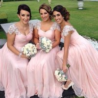 Wholesale Sparkly Lace Wedding Dress - Sparkly Bridesmaids Dress A Line Ruched Blush Pink Chiffon Crystals Sheer Lace Cap Sleeves Floor Length Formal Gowns for Wedding