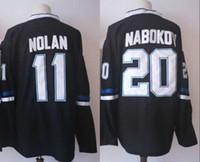 eis hockey leer jersey s großhandel-2018 New Günstige # 11 Owen NOLAN 20 Evgeni Nabokov Blank Eishockey Trikots Schwarz 100% Genäht
