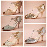 "Wholesale Gold Low Heel Dance Shoes - 2015 Vintage Blush Wedding Shoes Gold Silver Ivory Mint Buckle Closure Leather Party Dance 3"" High Heels Women Sandals Short Wedding Boots"