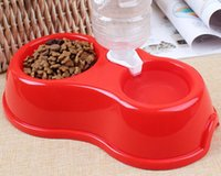 Atacado Good Quality Pet Bowl Shop Dog Acessorios Pet Dog Bowl Alimento Container Pet Alimentador Round Plastic Double Bowl With Inlet