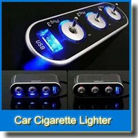 Wholesale High Output 12v Lighting - 100Pcs High Quality 3 Way Car Cigarette Lighter Socket Splitter 12V Charger Power Adapter DC 12V + USB + LED light Control