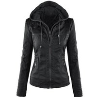 Wholesale Waterproof Hats Women - Women Jackets Female Faux Leather Jacket Long Sleeve Hat Removable Basic Coats Waterproof Windproof Winter Women's Clothing