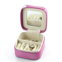 Cheap Wholesale New Designer Multi Color Patent Leather Jewelry Box With  Mirror Travel Storage Box