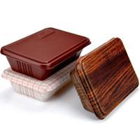 embalagem de caixa de lanche venda por atacado-Recipiente de Alimento de Grãos de madeira Criativo Descartável Food Container Caixas de Embalagem de Lanche Microwaveable PP Bento Box Frete Grátis ZA5318