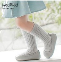 Wholesale Korean Tights For Baby - 2016 Korean solid baby high socks for boys girls kids knee socks children leg warmers boots dressing anti slip socks meias tights for girls