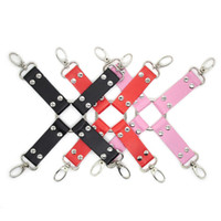 Wholesale Hogtie Bondage - w1021 Faux Leather Hogtie - Black Pink Red - bondage fetish slave kinky sexy hog tie