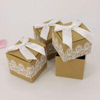 quality white paper 도매-흰색 Bowknot 레이스 광장 선물 상자와 갈색 설탕 케이스 Kraft Paper Candy Box 고품질 0 35hb B R