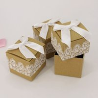 Wholesale Bowknot Case - Brown Sugar Case With White Bowknot Lace Square Gift Boxes Kraft Paper Candy Box High Quality 0 35hb B R