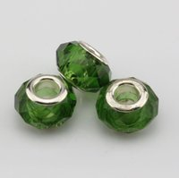 Wholesale 14mm Round Faceted - Hot ! 100pcs Green Faceted Crystal Glass Large Hole Beads Fit Charms Bracelets 14mm