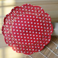 250pcs / lot 8 '' Red Dots Papel Doilies, Doyleys Redonda Lace Vintage, Artesanato de casamento