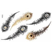 Wholesale Temporary Tattoo Stickers Metallic Gold Foil Tattoo Flash Tattoos Feather Animals Stickers Gold Silver Black Temporary Tattoo Waterproof