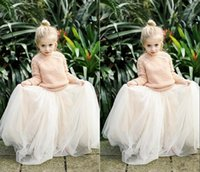 Wholesale Lovely Gowns Girl S - 2016 Lovely Baby Girls Tulle Skirts White Princess Tutu Ball Gown Flower Girl Party Dresses For Wedding Cheap Children's Long Skirts