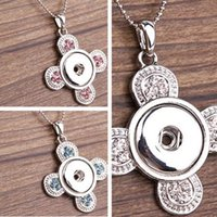 Wholesale interchangeable heart pendant - Hot Sales Fan Pattern NOOSA Interchangeable Jewerly with Crystal Ginger snaps on Jewelry Button Pendants Necklace