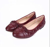 Women Flats Moda marca Genuine Leather luxo Boutique Bow Soft ladies OL ballet Simple Diamond treliça empilhamento tiro casual sapatos